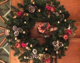 """Country Christmas Battery Operated 24"""" Holiday Wreath, PreLit Holiday Wreath, Front Door Wreath, Christmas Wreath Decoration, Holiday Wreath"""