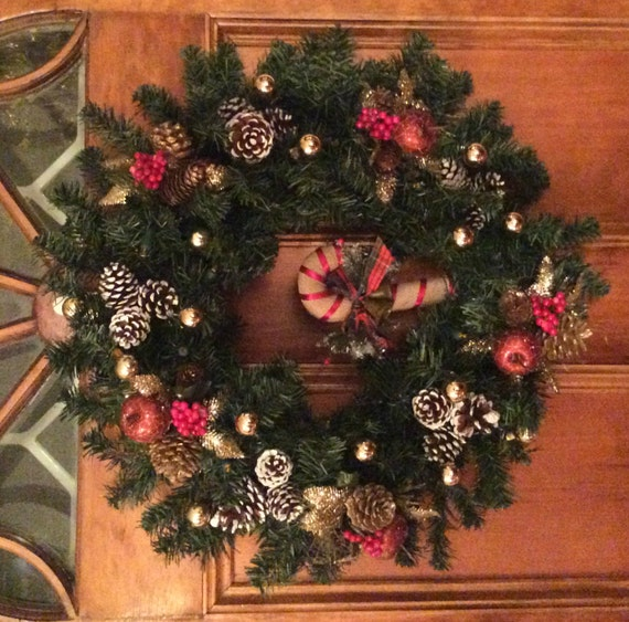 country christmas battery operated 24 holiday wreath. Black Bedroom Furniture Sets. Home Design Ideas