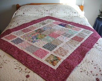 Quilted Block Patchwork Lap Quilt or Baby Quilt