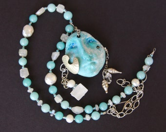 SALE Sea Goddess Necklace with Amazonite Pearl and Moonstone Pottery Face Shard with Dangles Beach Ocean Jewelry