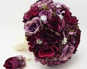 Plum & Lavender Roses and Hydrangea Bridal Bouquet Rhinestone Accents Groom's Boutonniere Plum Lavender Ivory Wedding Bouquet