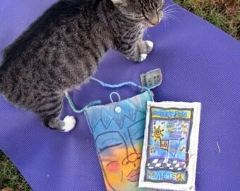 Yoga, hippie art, Hippie Pouch, Gift Set, Quilted Yoga Journal, Namaste, Handmade Journal,