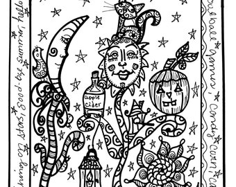 October's Coloring Book, Hippie Halloween, No holes! Single Sided!