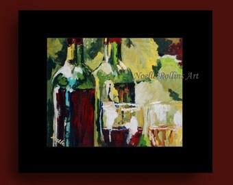 SALE BOGO Vineyard Wine wall art prints 8x10 in 11x14 mat - bold wine bottles scene in black mat red wine white wine wine bottle in vineyard