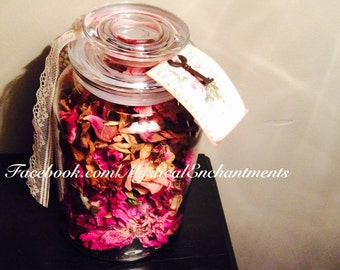 Shabby Chic Dried Peonies and Roses Glass Apothecary Jar
