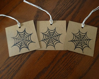 SET of 3 Chipboard Halloween Spiderweb Hang Tags