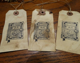 SET of 3 Large Primitive Witches Spell Book Hang Tags