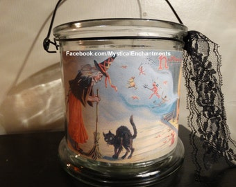 Halloween Witch & Black Cat Lantern Vintage style
