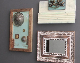 vintage wall art gallery - Industrial Cottage - 3 pc collection - wall decor