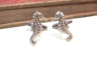 Antique Silver Seahorse Sea Horse Cufflinks - Green  - Antiqued Silver Cuff Links - Beach Wedding Ocean  Soldered