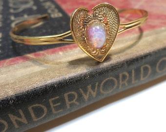 Vintage Brass Heart Harlequin Opal Cuff Bracelet - Adjustable - Delicate - Petite - Stacking Bracelet - Bangle - Photo Locket