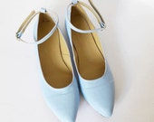 Mia ankle strap pointed flats (Handmade to order)