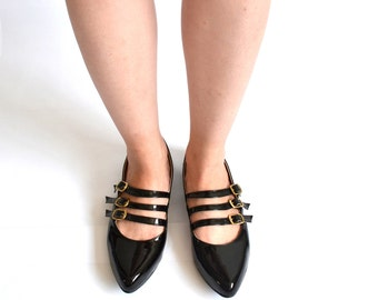 Lisa Triple strap pointed flats (Handmade to order)