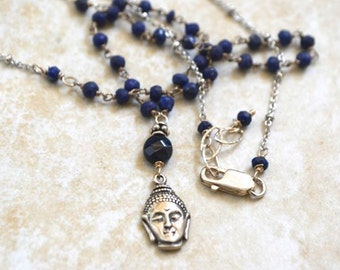 Saphire Silver Buddha Yoga Necklace September Birthstone