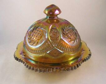 Carnival Glass Covered Butter Dish L.E. Smith Glass Sunburst