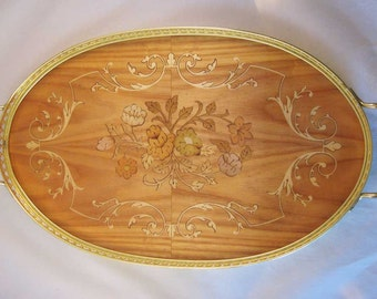 """Vintage Inlaid Sorrento Wooden Serving Tray Italy """"Miss Bellevue"""""""