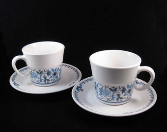 Noritake Progression Blue Moon Tea Cups/Coffee Cups & Saucers (4 pcs) #9022