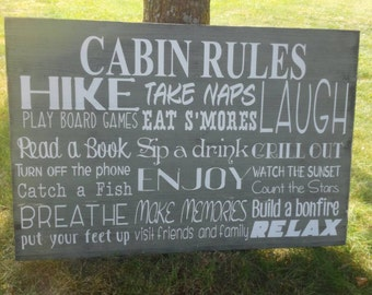Rustic Cabin Rules Sign Lake Rules Sign Extra Large Custom Made