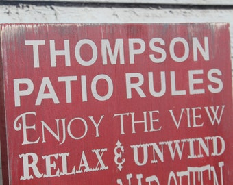 Patio Rules custom to your Patio primitive rustic style Typography Word Art Sign