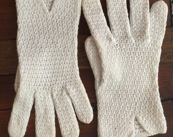 Vintage White Crochet Knit Gloves - Small