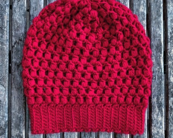 Jewel Tone Red Slouchy Hat for Toddler or Small Child