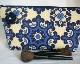 Large Flat Bottom Cosmetic Bag in Blue and Cream...The Adelaide Collection