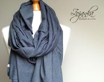 Cotton wrap, large blue scarf, fashion oversized scarf, fashion accessories, ecofriendly scarf handmade