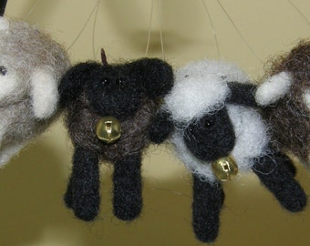 Sheep Ornaments Needle Felted Wool Cuties With Bells