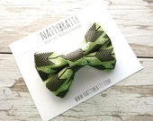 Clip On Bow Tie for Boys - Ring Bearers, Weddings, Birthday Parties - Mini Black Arrows on Olive Green - Tribal Native Boho Style - Lil' Hip