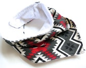 SALE: Bibdana - Bandana Drool and Teething Bib for Baby & Toddler - Cotton Terry Slouchy Style - Flannel Aztec Print - Tribal Style