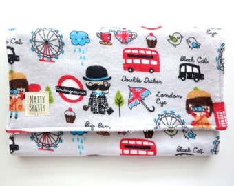 Modern Burp Cloth - Teething Drool Pad - Baby Gift - London - Red Bus - Phone Booth - England UK - Great Britain - City Baby - Travel
