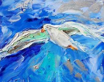 Original oil painting Seagull abstract palette knife impressionism on canvas fine art by Karen Tarlton