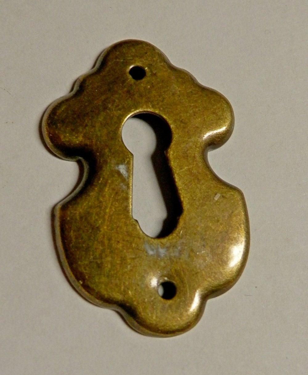 3 antique brass key hole covers escutcheons vintage - Antique peephole ...