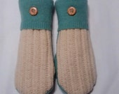 Sale Cream and Sea Green Wool Mittens made from recycled sweaters; lined with soft fleece. Ladies Medium.