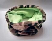 SALE One Size Cozy Fleece Neckwarmer Scarf Camo and Neon Green - Reversible!