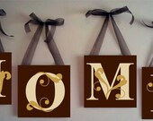 Custom Hand painted Canvas Letter Blocks Any Word Last Name Home Decor Wedding Gift per letter