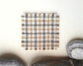 set of 6 simple Harris Tweed coasters with frayed edges