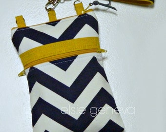 Ready to Ship Navy Blue Chevron and Mustard Yellow iPhone 5 6 6S 6Plus Phone Case with Wristlet and Optional Shoulder Strap Zipper Closure