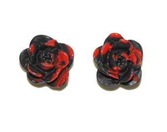 Clearance half off Just look at the flowers Lizzie Walking dead inspired earrings Blood splattered rose earring Black painting the roses red