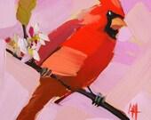 Cardinal no. 51 Bird Art Print by Angela Moulton 6 x 6 inches prattcreekart