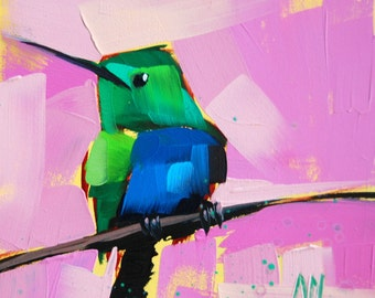 Hummingbird no. 68 Art Print by Angela Moulton 6 x 6 inch