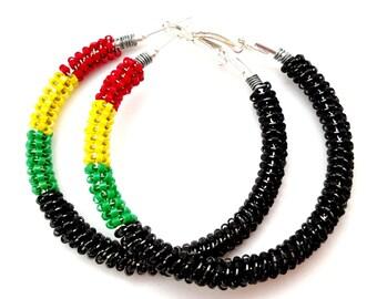 Natural Hair Earring, Beaded Hoop Earrings, Seed Bead Hoops, Ethnic Jewelry, Reggae Earrings, Red Black Green Hoop, Wire Wrap Hoops