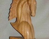 "Vintage  12"" Art Deco Hand Carved Horse Head"