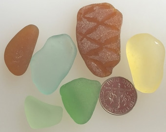 Sea Glass or Beach Glass of Hawaii  Amazing BIG YELLOW! TEXTURED! 4 Pendants! Rare sea glass from Hawaii! Wow!