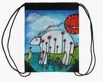 The Coming Of Spring Polar Bear and Bird Original Drawstring Bag