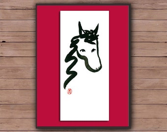 Horse Painting, Year of the Horse, Chinese Zodiac, Original Sumi Ink Painting scroll style, japan illustration, zen decor, childs room art