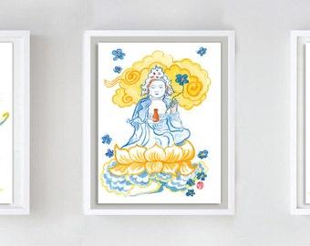 Zen Goddess Buddha Kanzeon, Kannon or Kwan Yin set of Watercolor Paintings Original art zen decor, japan scroll, taoist art, buddhist art