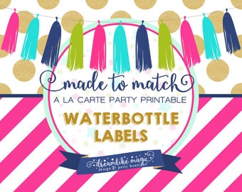 Made to Match Party Printable- Water Bottle Label Design