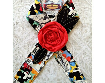 Cartoon Mickey Mouse Inspired Headwrap Headband Disney Inspired Headband Headwrap Tichel Accessory Headcover Knotted Headband