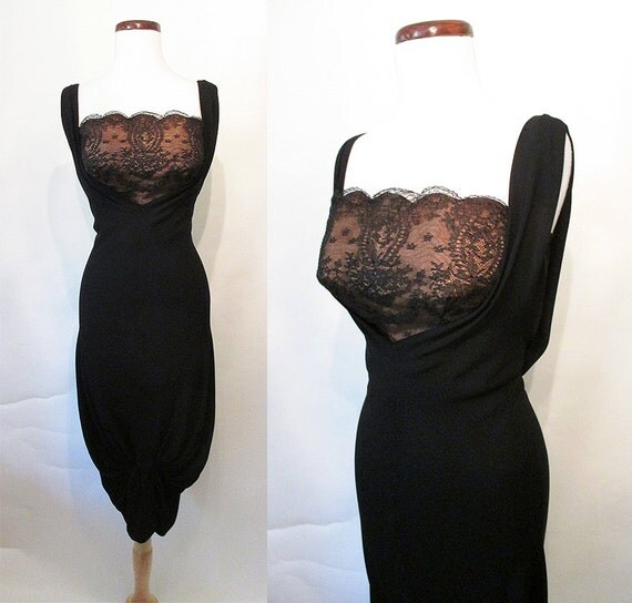 "Drop Dead Gorgeous ""Dorothy O'hara"" 1950's Designer Cocktail Party Dress with Extreme Hourglass Shape Rockabilly VLV  Pinup Girl Size-Small"